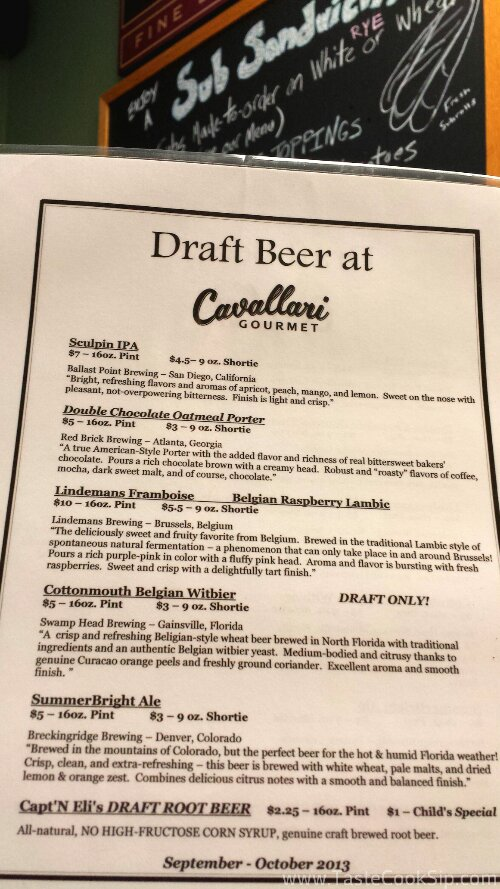 The current Craft Beer menu, valid through October 2013