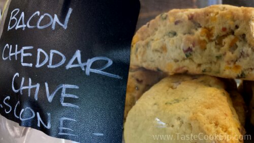Savory scones are ready to be enjoyed in the shop or to go.