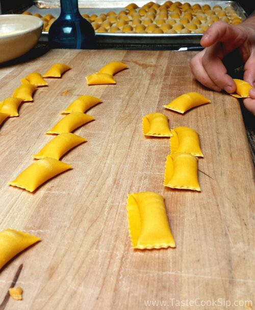 Butternut Squash Agnolotti being hand-formed by Prato's chef.