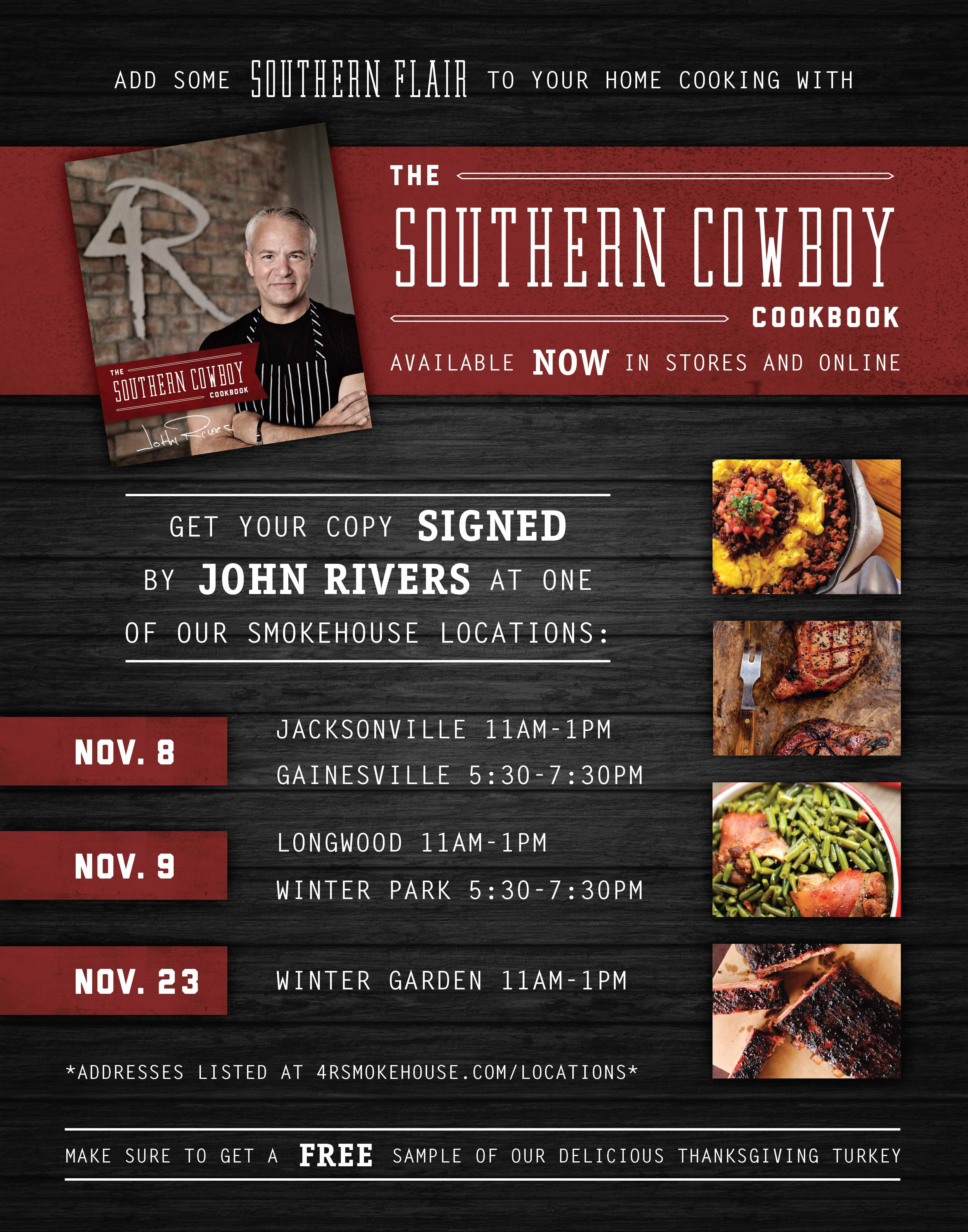 john rivers southern cowboy cookbook signings with 4 rivers