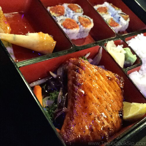Salmon with Miso Bento box, with spicy tuna roll and spring roll, substituted for gyoza.