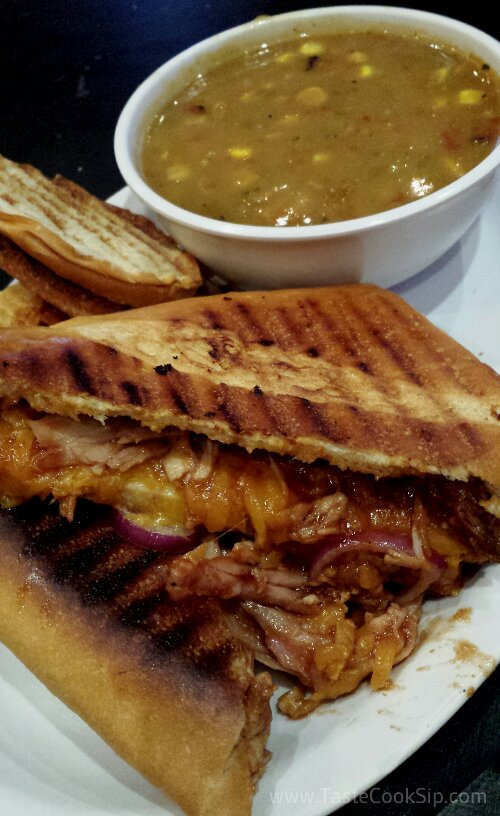 BBQ Chicken Panini with Corn Chowder