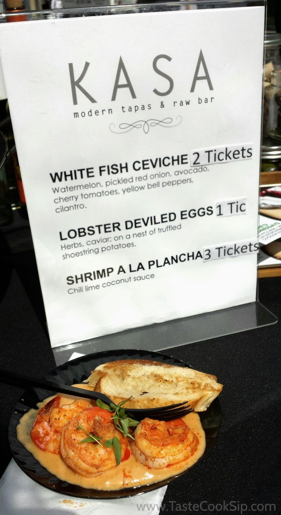 The creative Kasa menu and the Shrimp A La Plancha (3 tickets, $6), which is currently available on the Kasa dinner menu.