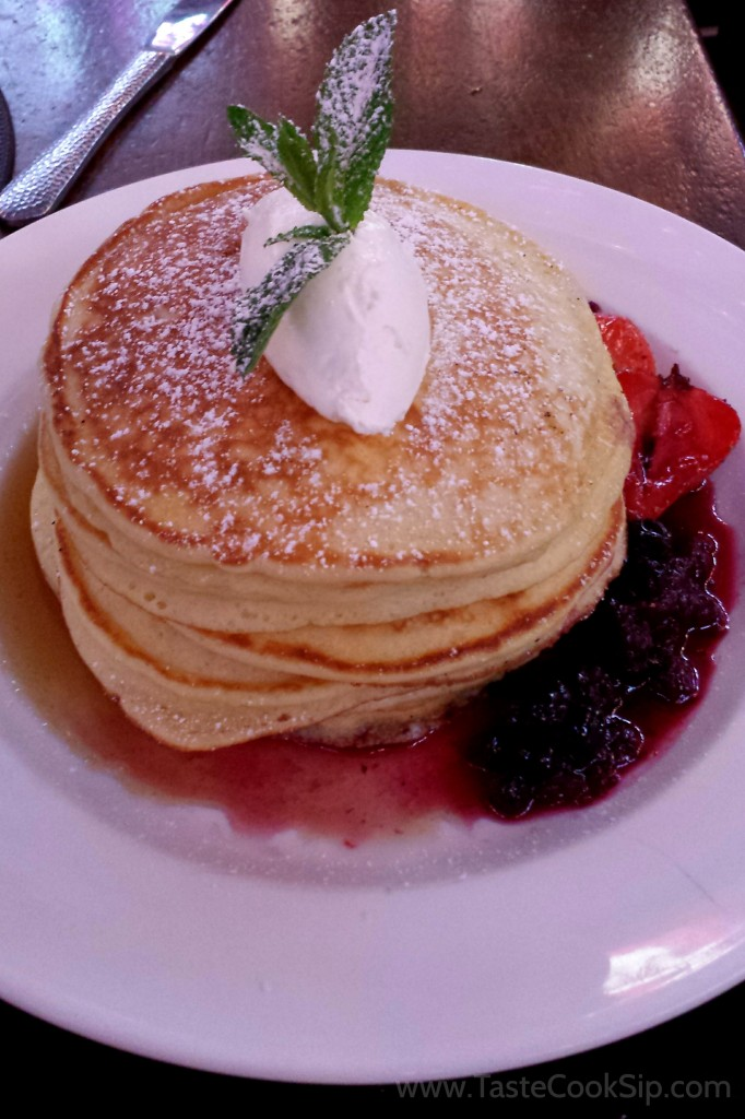 Pancakes Diaspora - Homemade pancakes with creme fraiche, maple syrup and mixed berry compote.