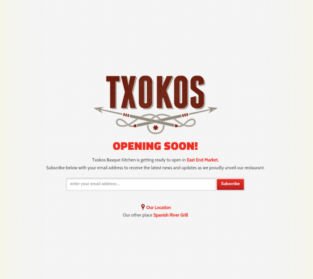 Join Txokos emails list for future news, features and special events.