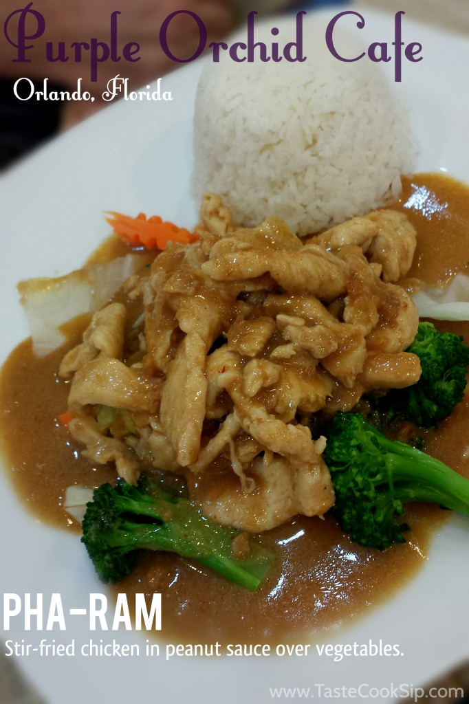 Pha-Ram, pictured with chicken. Guests can choose from chicken, pork or beef and level of spice.