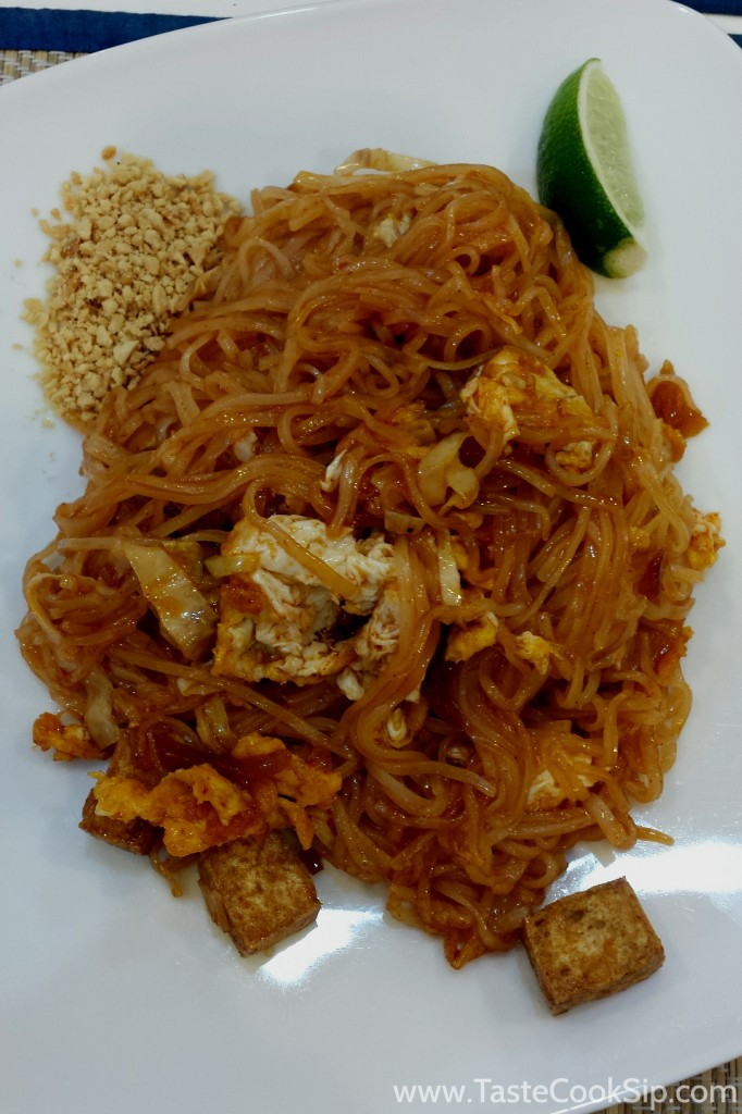 Traditional Pad Thai, slightly  tart with faint head. Palm sugar and Tamarind give this dish its signature flavor.