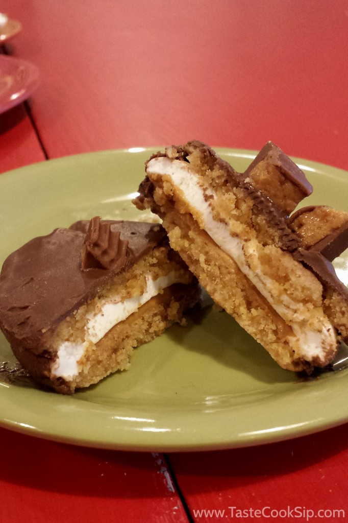 Moon Pies are available in an assortment of flavors.  3 for $3.99 Pictured: one Peanut butter moon pie.