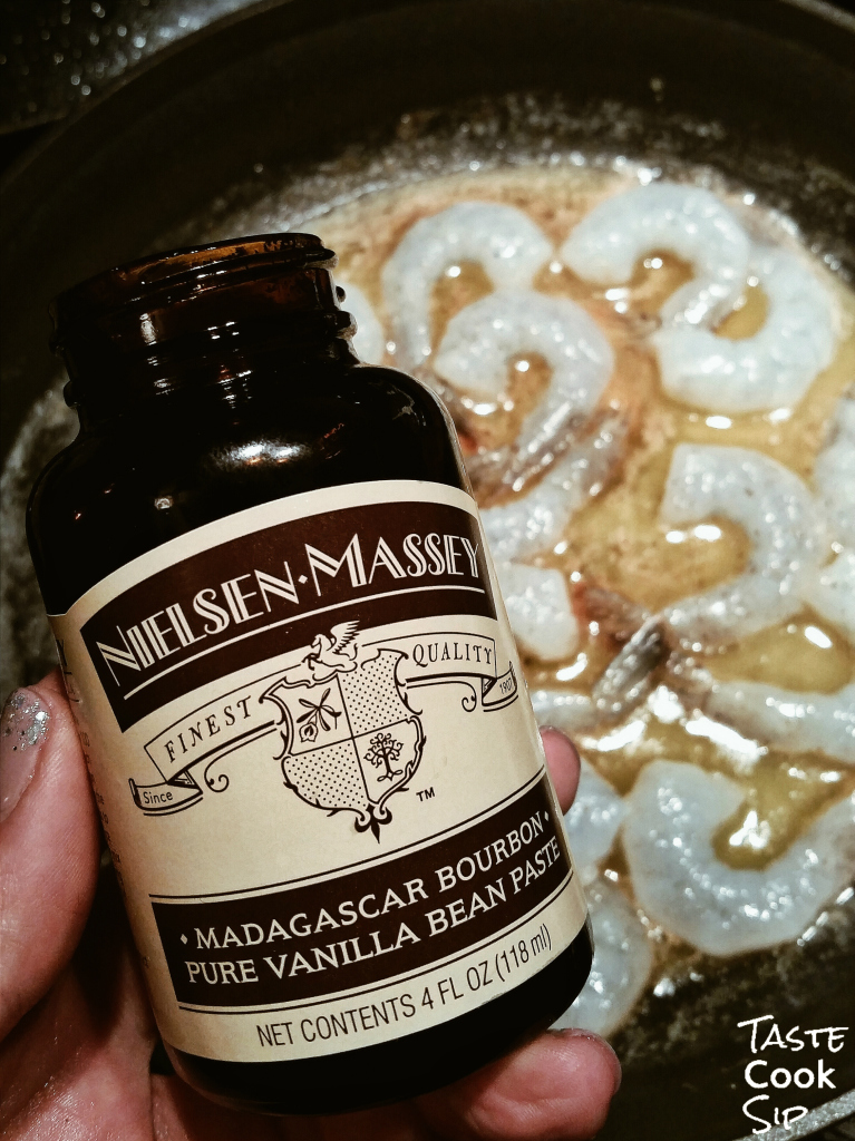 Tip: Start by sauteing up the shrimp in the vanilla butter made 1 ½ tsp. Nielsen-Massey Madagascar Bourbon Pure Vanilla Bean Paste, depending on the sweetness of the shrimp and your preference, increase by 1/2 Tsp of vanilla Bean paste.